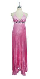 Long IN STOCK Silk Crepe Dress In Pink With Crystals
