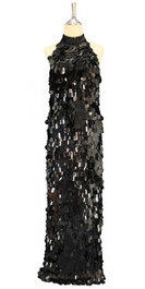 Long IN STOCK Metallic Black Hanging Sequin Handmade Dress