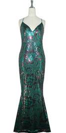 Long IN STOCK Metallic Green And Burgundy Sequin Fabric Dress