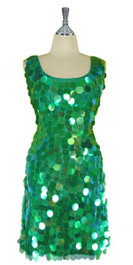 In-Stock Short Handmade Paillette Green Sequin Sleeveless Dress