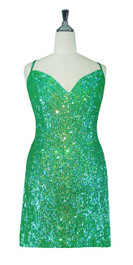 Short Handmade 8mm Cupped Sequin Gown in Transparent Iridescent Green front view