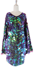 In-Stock Short Handmade Paillette Purple Sequin Dress With Sleeves