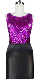 In-Stock Short Metallic Fuchsia Sequin Fabric With Black Stretch Fabric Dress