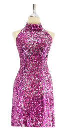 In-Stock Short sequin fabric dress, in Duality fuchsia and silver sequins, with a Chinese collar