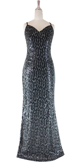 Long IN STOCK Sequin Fabric Dress In Black