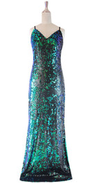 Long IN STOCK Sequin Fabric Dress In Black And Green