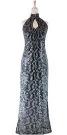 Long IN STOCK Sequin Fabric Dress In Black, Silver With Key Hole