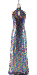 Long IN STOCK Sequin Fabric Dress In Multi Color With Key Hole