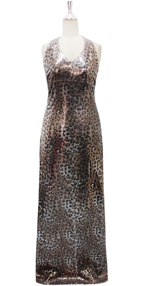 Long IN STOCK Sequin Fabric Dress In Animal Print