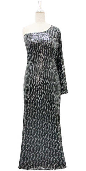 Long IN STOCK Sequin Fabric Dress In Black With One Shoulder Sleeve