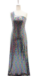 Long IN STOCK Sequin Fabric Dress In Multi Color With One Shoulder