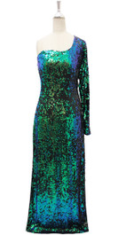 Long IN STOCK Sequin Fabric Dress In Black And Green With One Shoulder Sleeve