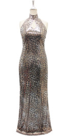 Long IN STOCK Sequin Fabric Dress In Leopard Print With A Keyhole Neckline