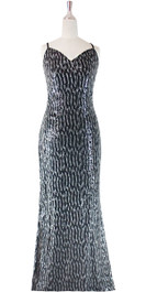 Long IN STOCK Sequin Fabric Dress In Black With A Halter Neckline
