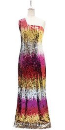 Long IN STOCK Sequin Fabric Dress In Multi Color With Peacock Neckline (STL2017-034)