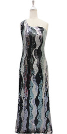 Long IN STOCK Sequin Fabric Dress In Black And Silver With Peacock Neckline