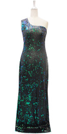Long IN STOCK Sequin Fabric Dress In Black And Green With Peacock Neckline