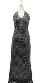 Long IN STOCK Sequin Fabric Dress In Black And Silver With Slim Halter Neck