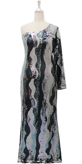 Long IN STOCK Sequin Fabric Dress In Black And Silver With One Shoulder