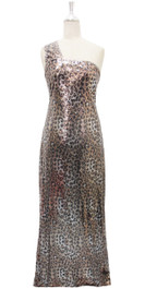 Long IN STOCK Sequin Fabric Dress In Leopard Print With One Shoulder