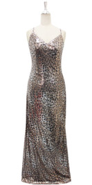 Long IN STOCK Sequin Fabric Dress In Leopard Print With Halter Neck (STL2017-042)