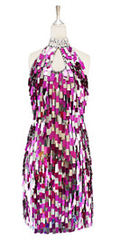 A short handmade sequin dress, in rectangular fuchsia and metallic silver paillette sequin dress front view