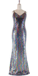 Long IN STOCK Sequin Fabric Dress In Multi Color With Halter Neck