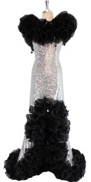 Long Silver Sequin Fabric Dress With Black Organza Ruffles At Neck And Hemline (SQL2017-0001)