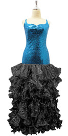 Long Turquoise Blue Sequin Fabric Dress With Black Organza Ruffles Hemline