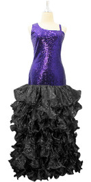 Long Royal  Blue Sequin Fabric Dress With Black Ruffles Hemline
