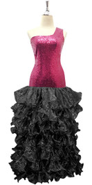 Long Red Sequin Fabric Dress With Black Ruffles Hemline