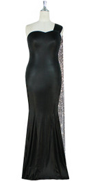 Long Black Velvet Dress With Silver Sequin Fabric Train