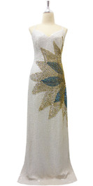 Long Handmade Dress In 8mm White Sequin With Gold Beads And Blue Sequins Design