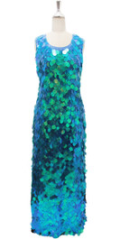 Long Handmade Sequin Dress, In Turquoise Blue Color