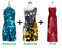 Buy Two Short Handmade Sequin Dresses With Further 20% On Both And Get One Long Express Sequin Dress Free (SPCL-007)
