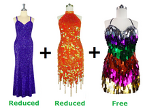 Buy One Long & One Short Handmade Sequin Dresses With Further 20% On Both And Get One Short Handmade Sequin Dress Free (SPCL-009)