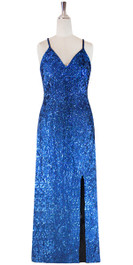 Long IN STOCK Handmade Sequin Dress, In Dark Blue Color Hologram Sequins (STL2017-0045)