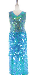 Long IN STOCK Handmade Sequin Dress, In Transparent Turquoise Blue Color (STL2017-0049)