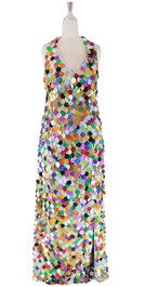Long IN STOCK Handmade Sequin Dress, In Multi Color Hologram Sequins With Slit (STL2017-0050)