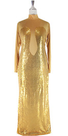 Long IN STOCK Sequin Fabric Dress In Gold With Sleeves (STL2017-0051)