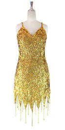In-Stock Short Handmade Sequin Dress, In Gold Sequins With Jagged Beaded Hemline (STS2017-027)