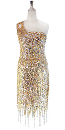 In-Stock Short Sequin Fabric Dress In Gold And Silver With Jagged Beaded Hemline (STS2017-029)