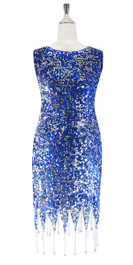 In-Stock Short Sequin Fabric Dress In Blue And Silver With Cowl Back (STS2017-030)