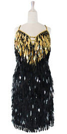 In-Stock Short Handmade Sequin Dress, In Gold And Black Sequins (STS2017-033)