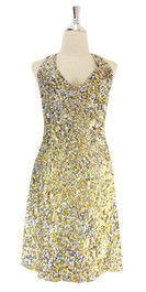 In-Stock Short Handmade Sequin Dress, In Gold And Silver Sequins