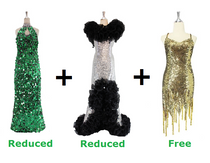 Buy One Long Handmade Sequin Dress And One Long Express Sequin Dress With Discounts And Get One Short Sequin Fabric Dress Free (SPCL-019)
