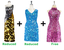 Buy One Long Handmade Sequin Dress And One Short Handmade Sequin Dress With Discounts And Get One Short Sequin Fabric Dress Free (SPCL-021)
