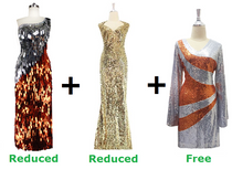 Buy One Long Handmade Sequin Dress And One Long Sequin Fabric Dress With Discounts And Get One Short Sequin Fabric Dress (SPCL-023)