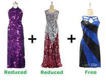 Buy Two Long Handmade Sequin Dress With Discounts And Get One Short Sequin Fabric Dress (SPCL-024)