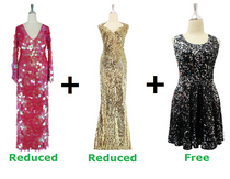 Buy One Long Handmade Sequin Dress & One Long Express Gown With Discounts And Get One Short Sequin Fabric Dress Free (SPCL-025)